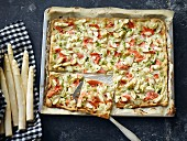 Tarte flambée with asparagus and salmon