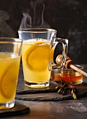 White mulled wine with oranges and honey