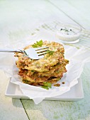 Courgette fritters with parsley