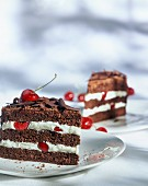 Two slices of black forest gateau