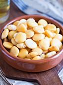 Lupini-Bohnen (Tremocos) in Keramikschale (Typisch portugiesischer salziger Snack)
