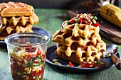 Cornmeal and polenta waffles with Pico de Gallo
