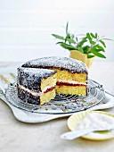 Lamington Cake angeschnitten auf Kuchengitter