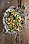 Gebackener Butternusskürbis mit Spinat und Ricotta (vegetarisch)
