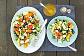 Courgette salad with feta, apricots and berries