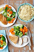 Chicken breast with steamed vegs (broccoli, carrot) and bulgur
