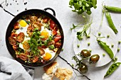 Shakshuka with tomatoes and portulak