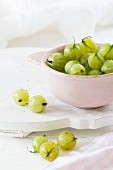 Green gooseberries in a bowl