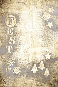 Party - Gold surface decorated with letters and stars (festive)