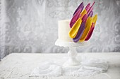 A celebration cake with colourful icing feathers