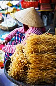 Noodles for sale at a market in Hoi An, Vietnam