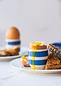 Soft boiled eggs and toast