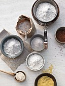 Various types of flour and grains