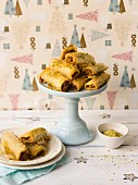 Baklava rolls with pistachios and walnut, with honey (no sugar syrup)