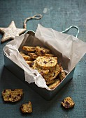 Biscotti with cranberry, apricot, almond and pistachios
