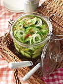 Pickled cucumbers with onions and dill