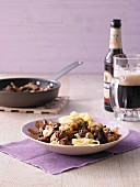 Beef steak slices with Guinness sauce