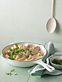 Asparagus and chicken stew with parsley
