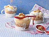 Egg liqueur tiramisu with almond flakes