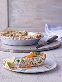 Trout quiche with puff pastry