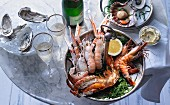 A seafood platter with sparkling wine