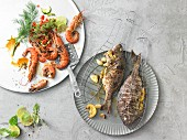 Grilled fish with lemons and garlic, and scampi with limes
