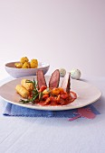 Sliced lamb with ratatouille (Easter)