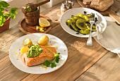 Salmon with lemon pesto and ravioli with pumpkin seed pesto
