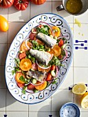 Portuguese sardines with tomato and lettuce