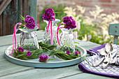Tischdekoration aus Sträußchen von Dianthus barbatus (Bartnelken) auf umgedrehten Gläsern in Kränzen aus Gras, auf Tablett gestellt