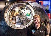 British ESA astronaut Timothy Peake with Soyuz capsule
