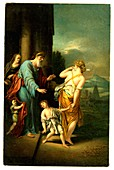 Abraham casting out Hagar, 18th C illustration