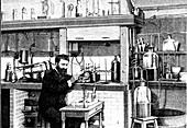 Fluorine preparation, 19th Century illustration