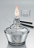 Alcohol burner and petri dishes