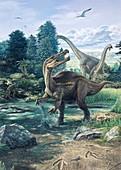 Baryonyx walkerii dinosaur, illustration