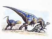 Tyrannosaurus rex hunting, illustration