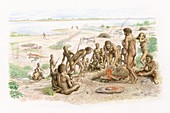 Early human burial ceremony, illustration