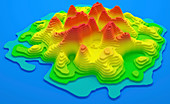 Topographical map of an island, illustration