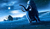 Artwork of Mammoths and Snow