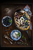 Blueberry clafoutis with crème fraîche