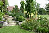 Hanggarten mit Natursteintreppe und Trockenmauern,