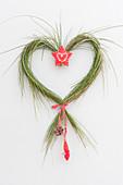 Herz aus Zweigen von Cytisus ( Ginster ) mit Stern als Tuerschmuck