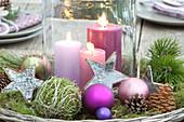 Weihnachtstischdeko auf der Terrasse :