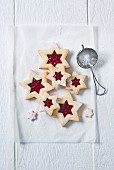 Star-shaped jam biscuits