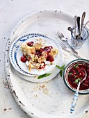 Kaiserschmarrn (shredded pancakes) with cherry compote
