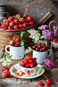 Cherries and strawberries