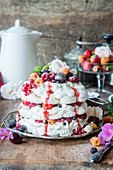 Pavlova cake with berries