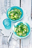 Cucumber salad with a chili dressing