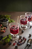 Jelly for pudding made of blackberries with fresh blackberries