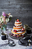 Tiered Sponge Cake with Berries and Cream